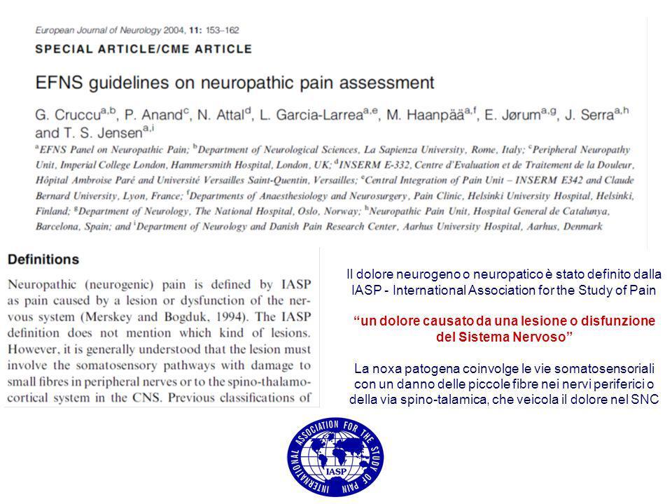 Il dolore neurogeno o neuropatico è stato definito dalla IASP - International Association for the Study of Pain un dolore causato da una lesione o dis