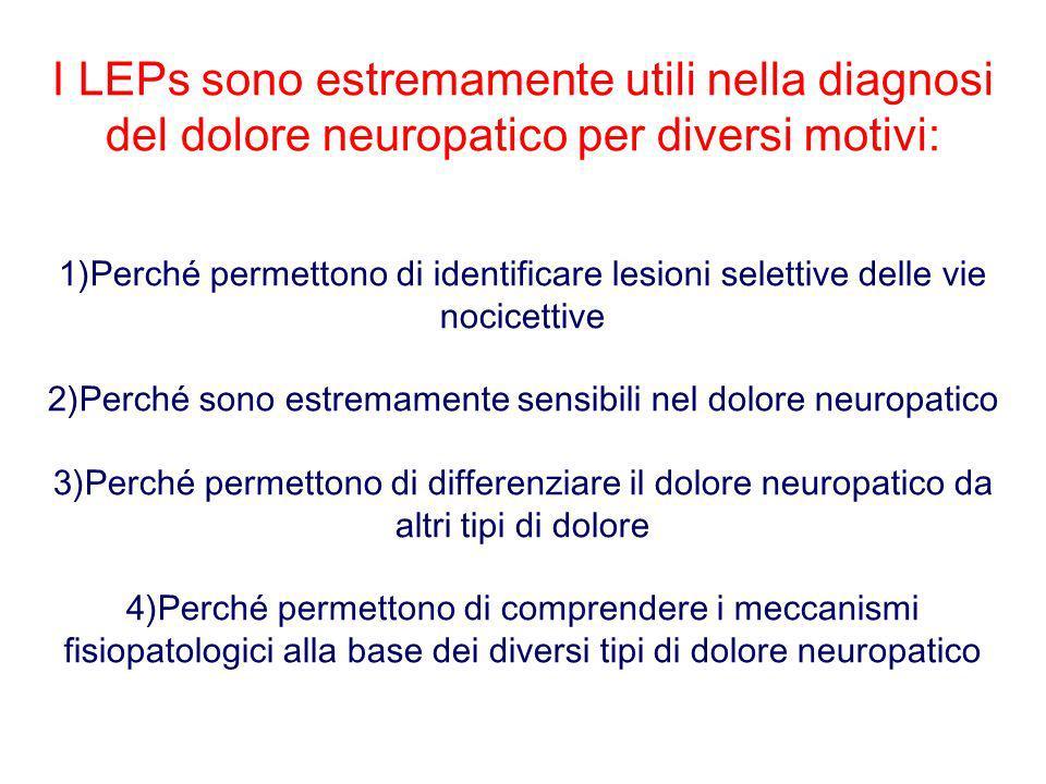 I LEPs sono estremamente utili nella diagnosi del dolore neuropatico per diversi motivi: 1)Perché permettono di identificare lesioni selettive delle v