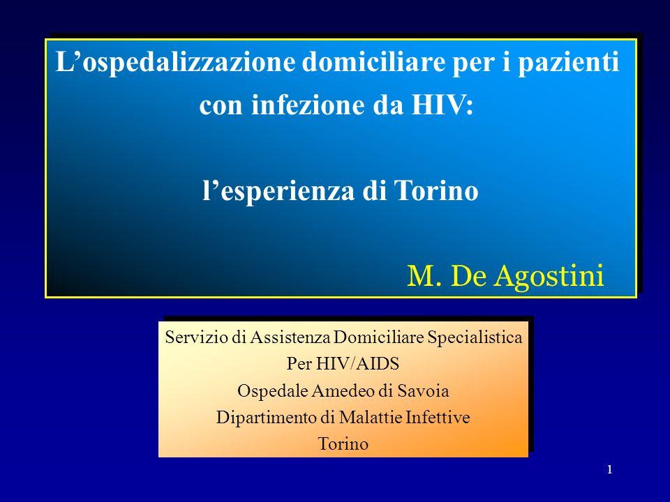 1 Lospedalizzazione domiciliare per i pazienti con infezione da HIV: lesperienza di Torino M. De Agostini Lospedalizzazione domiciliare per i pazienti