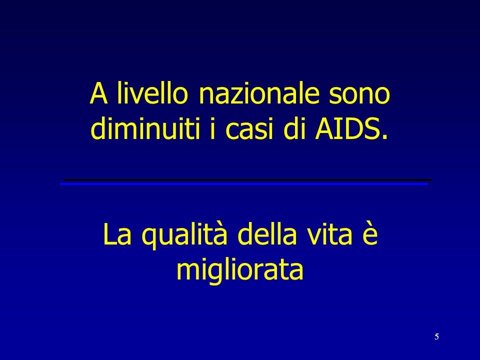 5 A livello nazionale sono diminuiti i casi di AIDS. La qualità della vita è migliorata