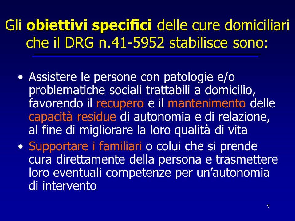 7 obiettivi specifici Gli obiettivi specifici delle cure domiciliari che il DRG n.41-5952 stabilisce sono: Assistere le persone con patologie e/o prob