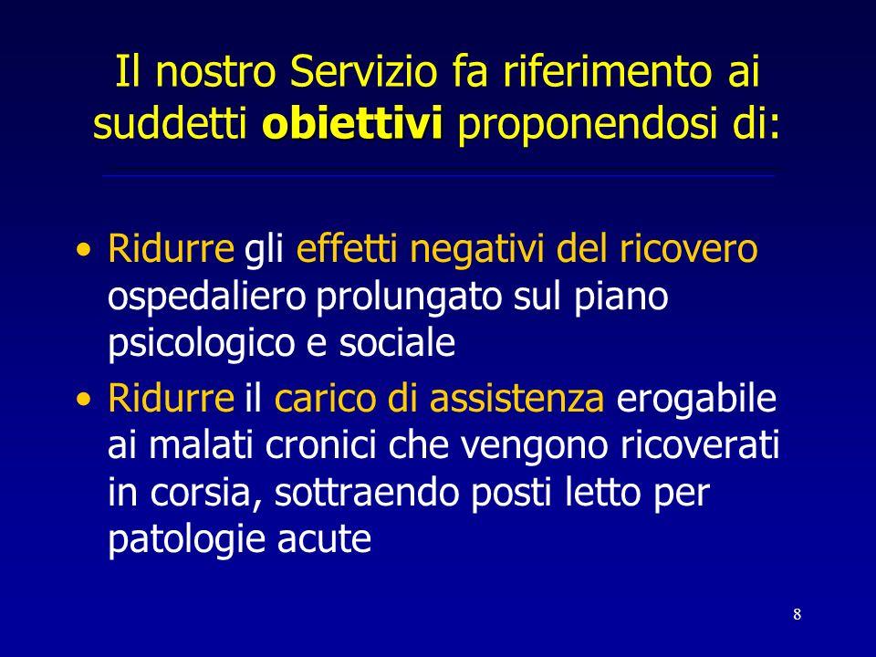 8 obiettivi Il nostro Servizio fa riferimento ai suddetti obiettivi proponendosi di: Ridurre gli effetti negativi del ricovero ospedaliero prolungato