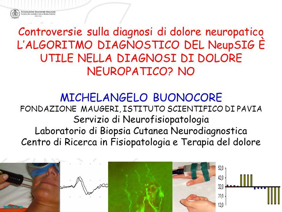 Dolore Distribuzione in territorio neurologico e/o sensazione disestesica descritta come scossa elettrica, aghi e spilli, bruciore Solo segni non neurofisiologici (EO, RM, TC, ecog, ecc) Segni di lesione delle fibre sensitive innervanti la sede del dolore Segni neurofisiologici (ENG,PESS,LEP, ecc) POSSIBILE PROBABILE DEFINITO COME LAVREMMO FATTO NOI …