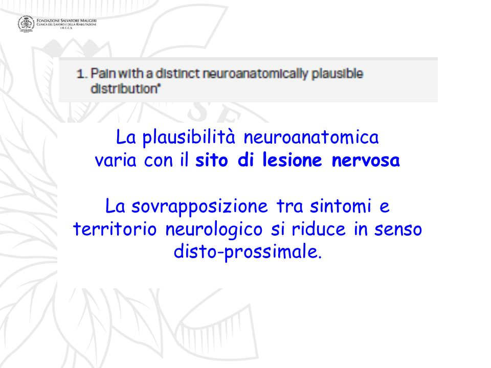 La plausibilità neuroanatomica varia con il sito di lesione nervosa La sovrapposizione tra sintomi e territorio neurologico si riduce in senso disto-p