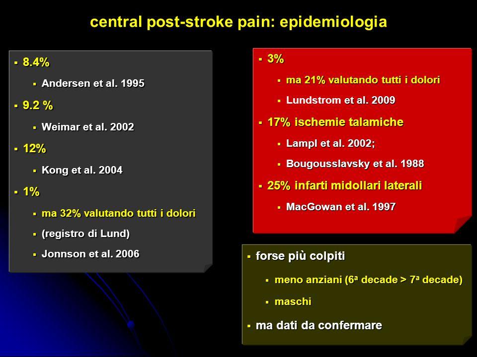 central post-stroke pain: epidemiologia 8.4% 8.4% Andersen et al. 1995 Andersen et al. 1995 9.2 % 9.2 % Weimar et al. 2002 Weimar et al. 2002 12% 12%