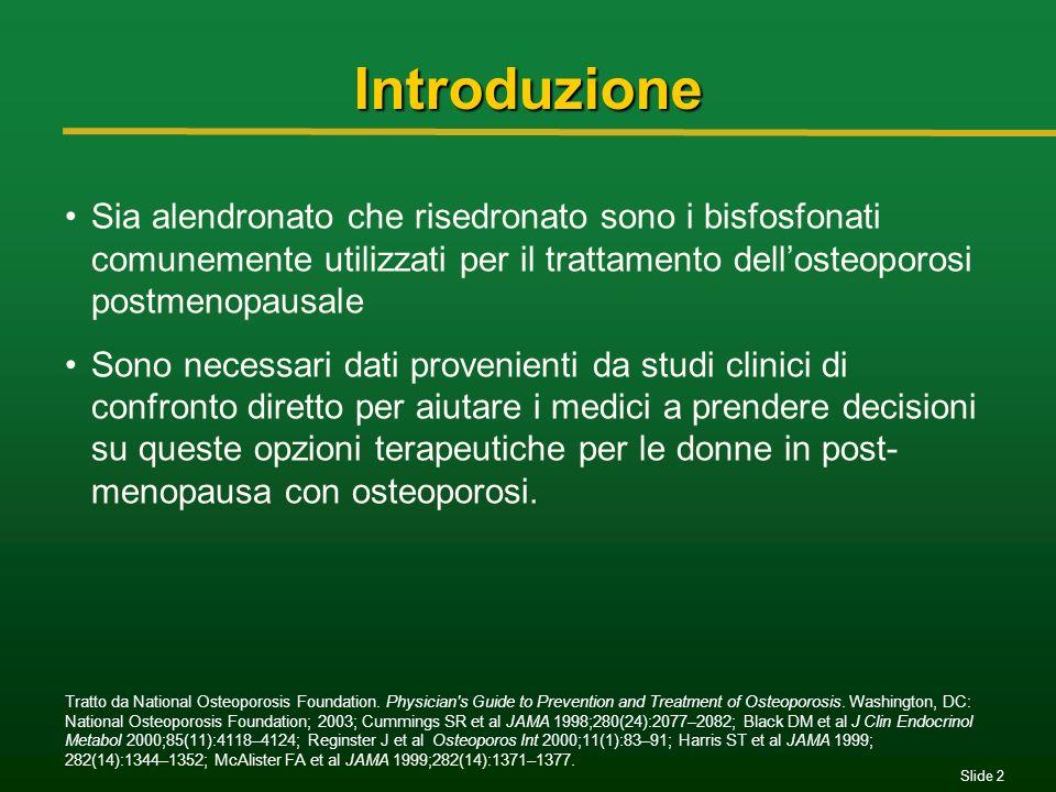 Slide 2 Introduzione Sia alendronato che risedronato sono i bisfosfonati comunemente utilizzati per il trattamento dellosteoporosi postmenopausale Son