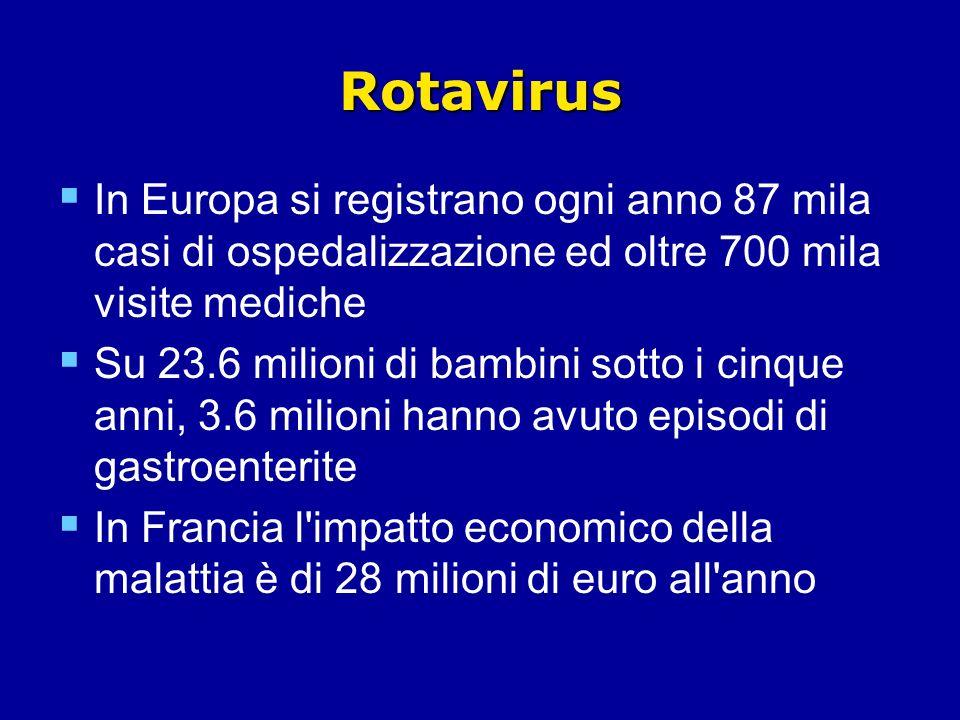 Rotavirus In Europa si registrano ogni anno 87 mila casi di ospedalizzazione ed oltre 700 mila visite mediche Su 23.6 milioni di bambini sotto i cinque anni, 3.6 milioni hanno avuto episodi di gastroenterite In Francia l impatto economico della malattia è di 28 milioni di euro all anno