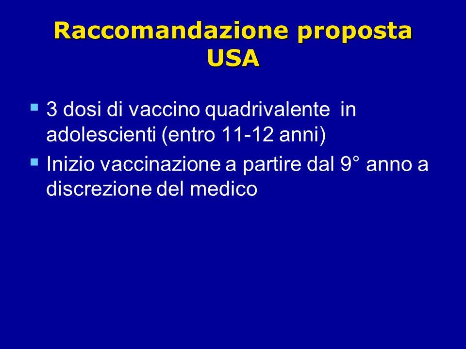 Raccomandazione proposta USA 3 dosi di vaccino quadrivalente in adolescienti (entro 11-12 anni) Inizio vaccinazione a partire dal 9° anno a discrezione del medico