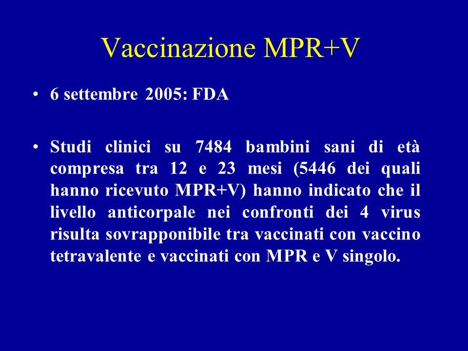 Vaccinazione MPR+V 6 settembre 2005: FDA Studi clinici su 7484 bambini sani di età compresa tra 12 e 23 mesi (5446 dei quali hanno ricevuto MPR+V) hanno indicato che il livello anticorpale nei confronti dei 4 virus risulta sovrapponibile tra vaccinati con vaccino tetravalente e vaccinati con MPR e V singolo.