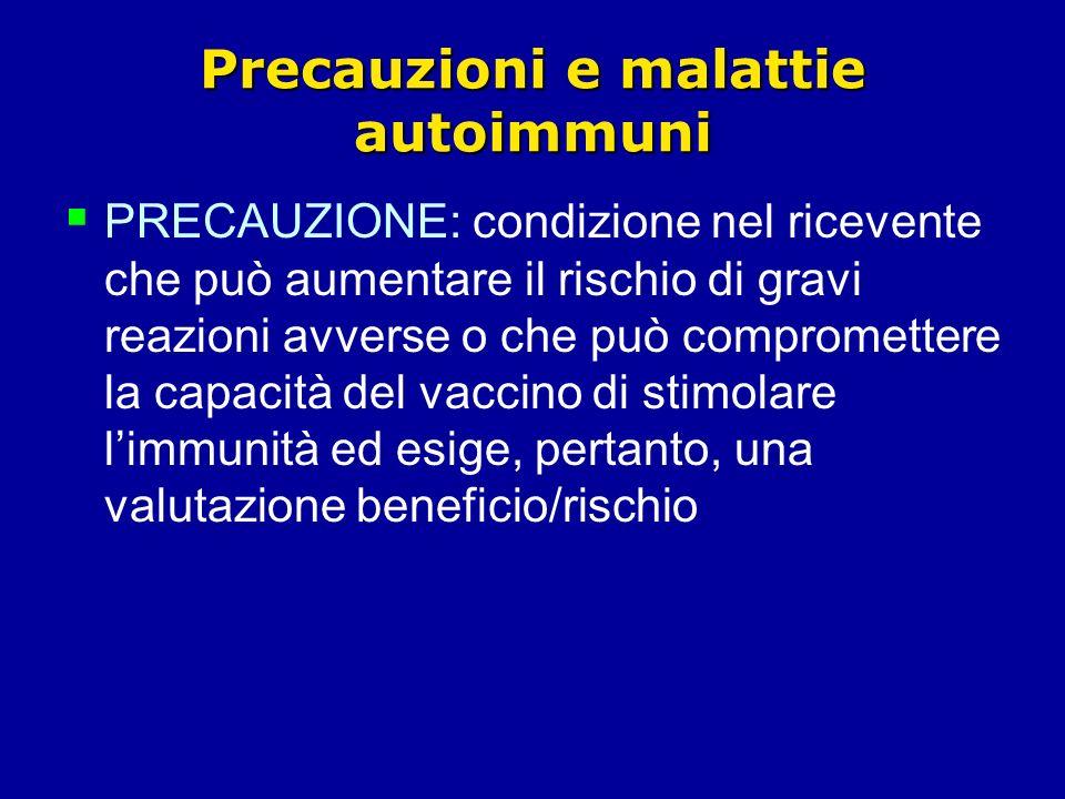 Precauzioni e malattie autoimmuni PRECAUZIONE: condizione nel ricevente che può aumentare il rischio di gravi reazioni avverse o che può compromettere la capacità del vaccino di stimolare limmunità ed esige, pertanto, una valutazione beneficio/rischio