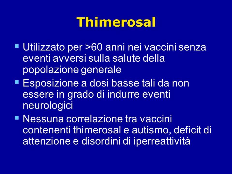 Thimerosal Utilizzato per >60 anni nei vaccini senza eventi avversi sulla salute della popolazione generale Esposizione a dosi basse tali da non essere in grado di indurre eventi neurologici Nessuna correlazione tra vaccini contenenti thimerosal e autismo, deficit di attenzione e disordini di iperreattività