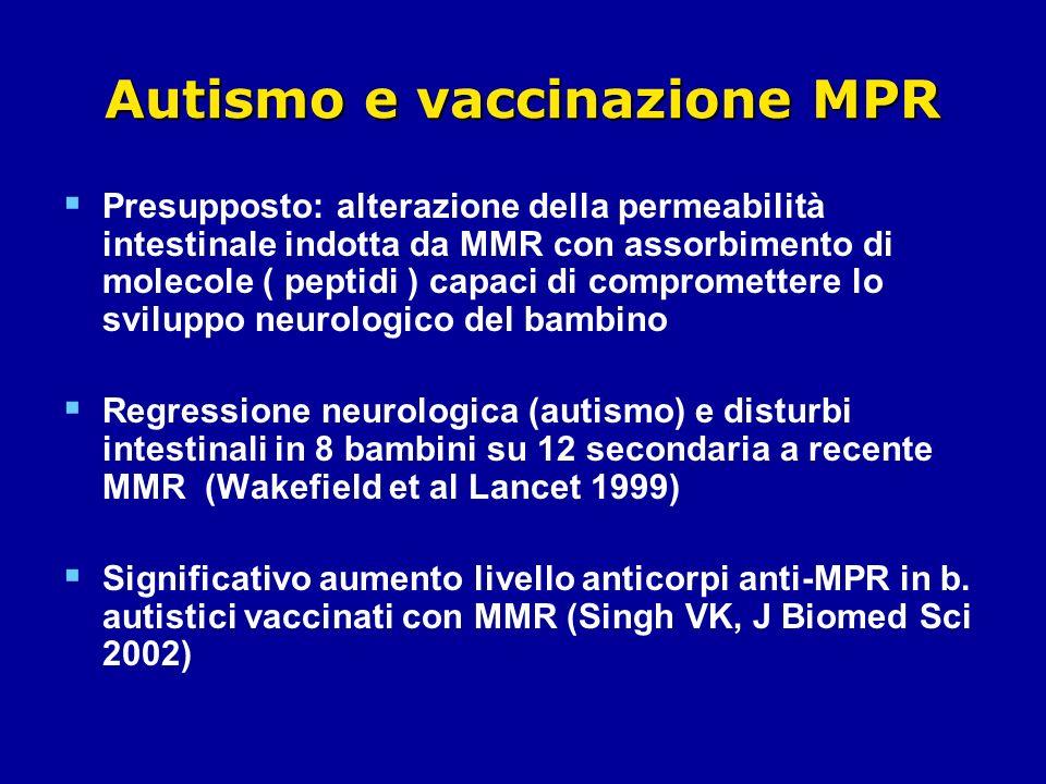 Autismo e vaccinazione MPR Presupposto: alterazione della permeabilità intestinale indotta da MMR con assorbimento di molecole ( peptidi ) capaci di compromettere lo sviluppo neurologico del bambino Regressione neurologica (autismo) e disturbi intestinali in 8 bambini su 12 secondaria a recente MMR (Wakefield et al Lancet 1999) Significativo aumento livello anticorpi anti-MPR in b.
