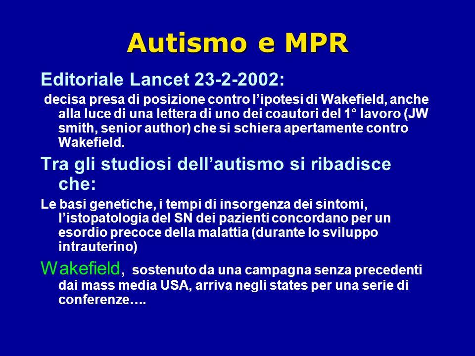 Autismo e MPR Editoriale Lancet 23-2-2002: decisa presa di posizione contro lipotesi di Wakefield, anche alla luce di una lettera di uno dei coautori del 1° lavoro (JW smith, senior author) che si schiera apertamente contro Wakefield.