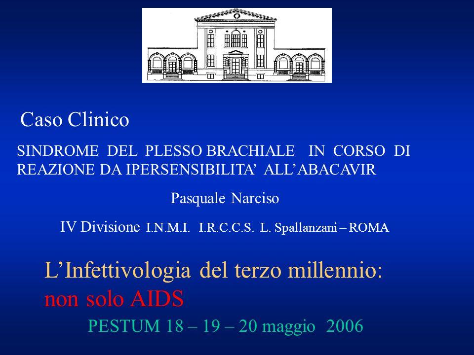 Caso Clinico SINDROME DEL PLESSO BRACHIALE IN CORSO DI REAZIONE DA IPERSENSIBILITA ALLABACAVIR Pasquale Narciso IV Divisione I.N.M.I. I.R.C.C.S. L. Sp