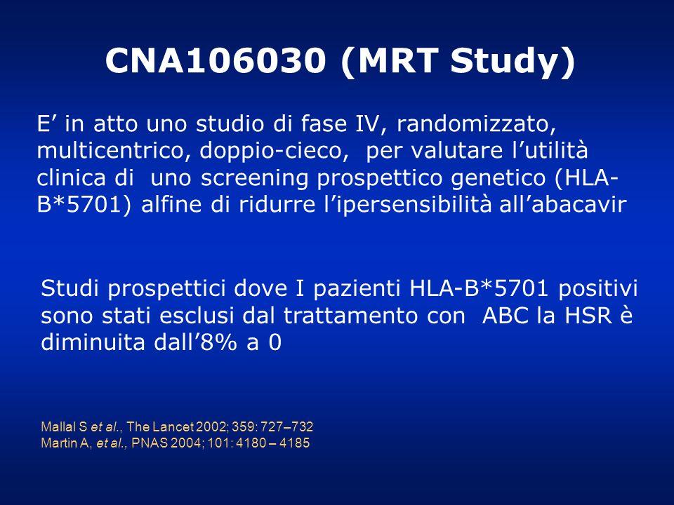 E in atto uno studio di fase IV, randomizzato, multicentrico, doppio-cieco, per valutare lutilità clinica di uno screening prospettico genetico (HLA-