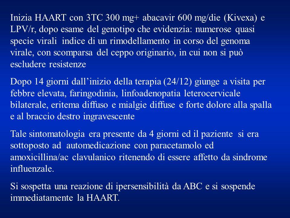 Inizia HAART con 3TC 300 mg+ abacavir 600 mg/die (Kivexa) e LPV/r, dopo esame del genotipo che evidenzia: numerose quasi specie virali indice di un ri