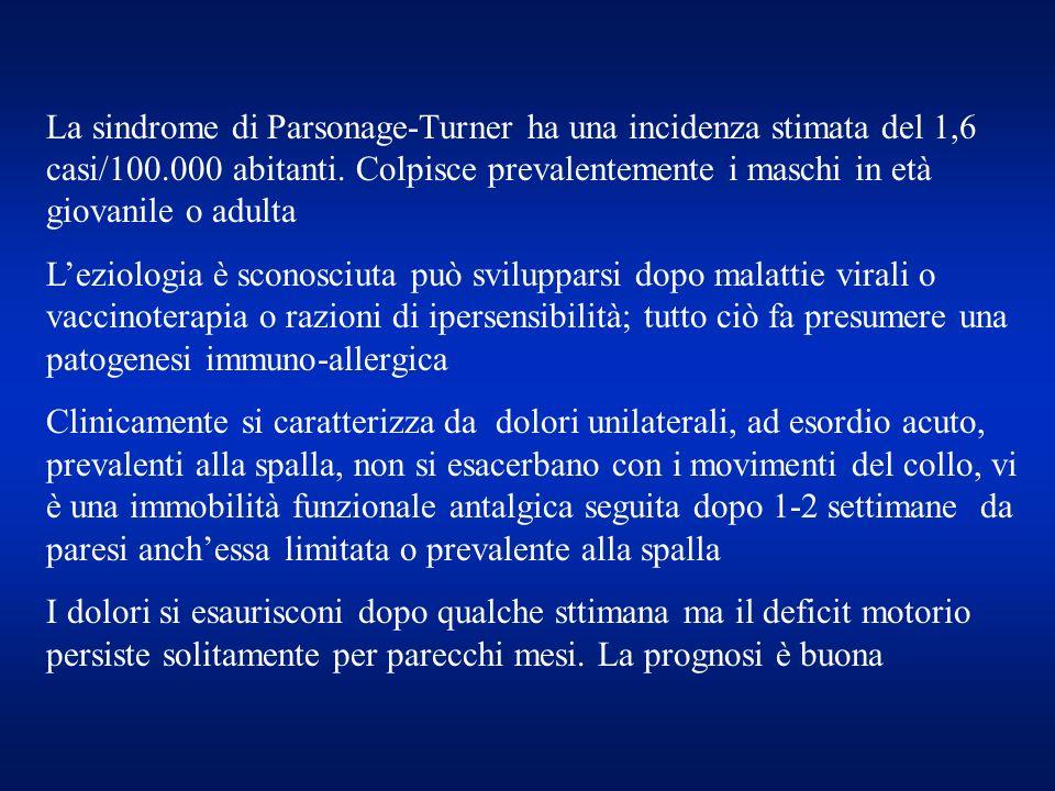 La sindrome di Parsonage-Turner ha una incidenza stimata del 1,6 casi/100.000 abitanti. Colpisce prevalentemente i maschi in età giovanile o adulta Le