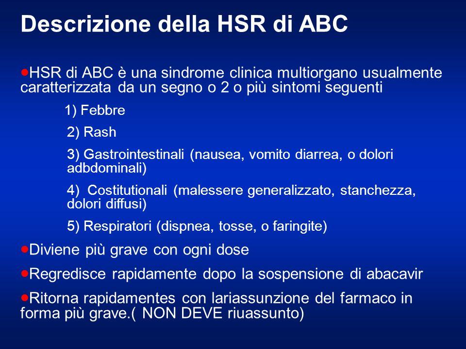 Descrizione della HSR di ABC HSR di ABC è una sindrome clinica multiorgano usualmente caratterizzata da un segno o 2 o più sintomi seguenti 1) Febbre