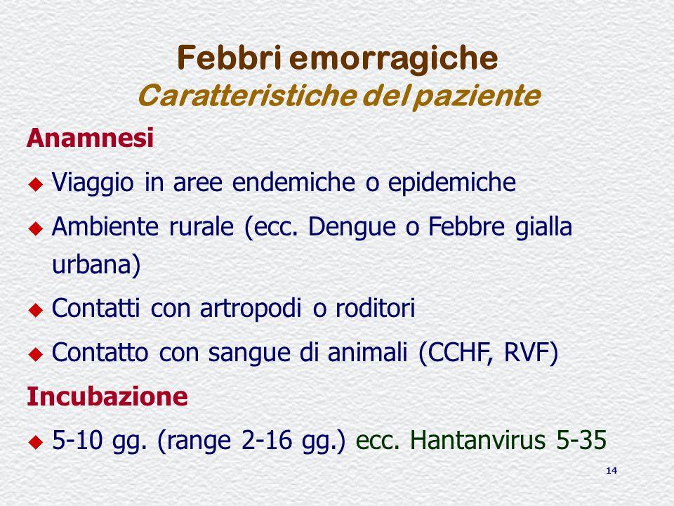14 Anamnesi u Viaggio in aree endemiche o epidemiche u Ambiente rurale (ecc. Dengue o Febbre gialla urbana) u Contatti con artropodi o roditori u Cont