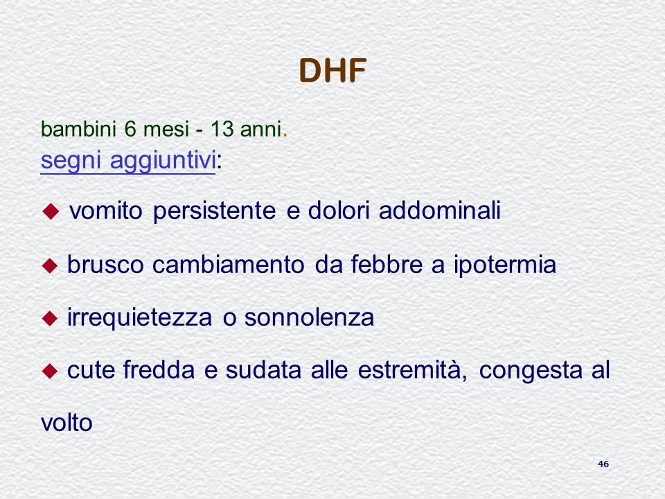 46 DHF bambini 6 mesi - 13 anni. segni aggiuntivi: u vomito persistente e dolori addominali u brusco cambiamento da febbre a ipotermia u irrequietezza