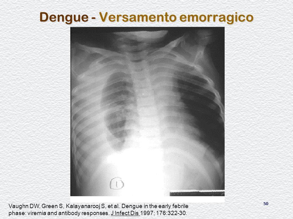 50 Dengue - Versamento emorragico Vaughn DW, Green S, Kalayanarooj S, et al. Dengue in the early febrile phase: viremia and antibody responses. J Infe