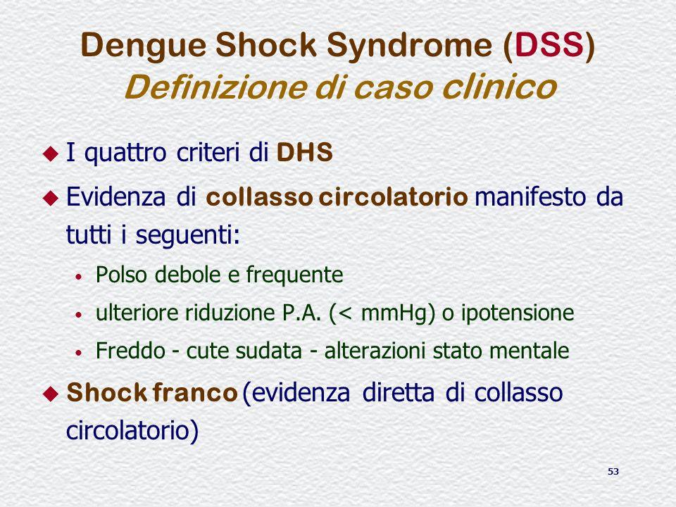 53 Dengue Shock Syndrome (DSS) Definizione di caso clinico I quattro criteri di DHS Evidenza di collasso circolatorio manifesto da tutti i seguenti: P