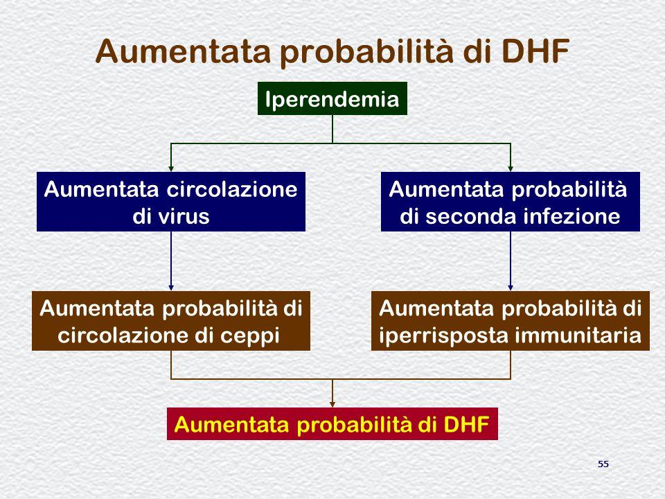 55 Aumentata probabilità di DHF Iperendemia Aumentata circolazione di virus Aumentata probabilità di seconda infezione Aumentata probabilità di circol