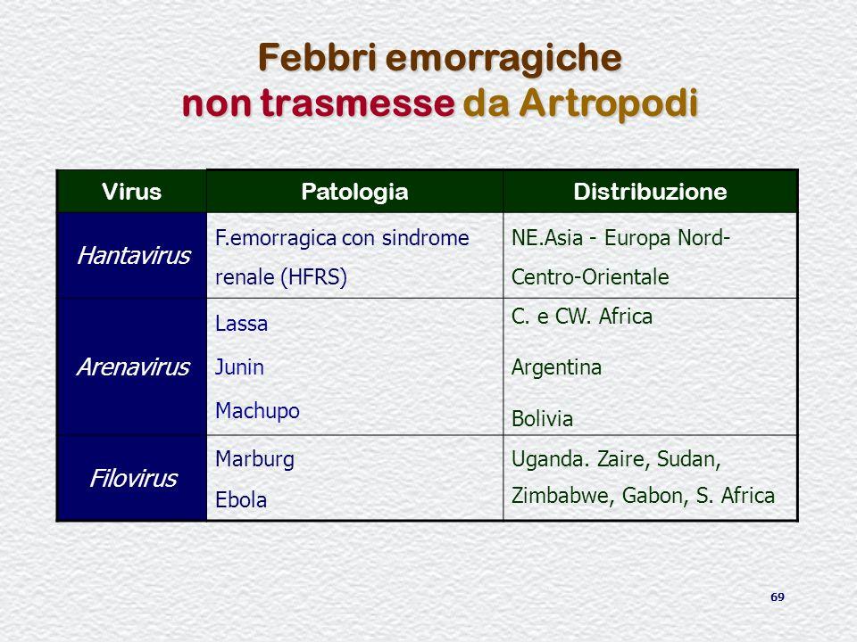 69 Febbri emorragiche non trasmesse da Artropodi VirusPatologiaDistribuzione Hantavirus F.emorragica con sindrome renale (HFRS) NE.Asia - Europa Nord-