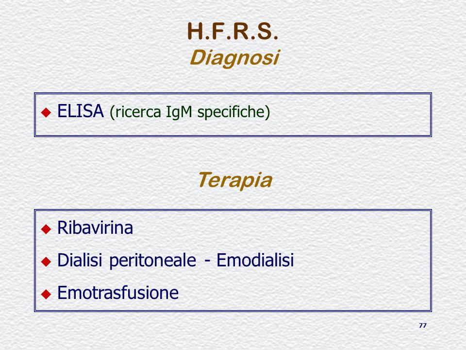 77 u ELISA (ricerca IgM specifiche) H.F.R.S. Diagnosi Terapia u Ribavirina u Dialisi peritoneale - Emodialisi u Emotrasfusione