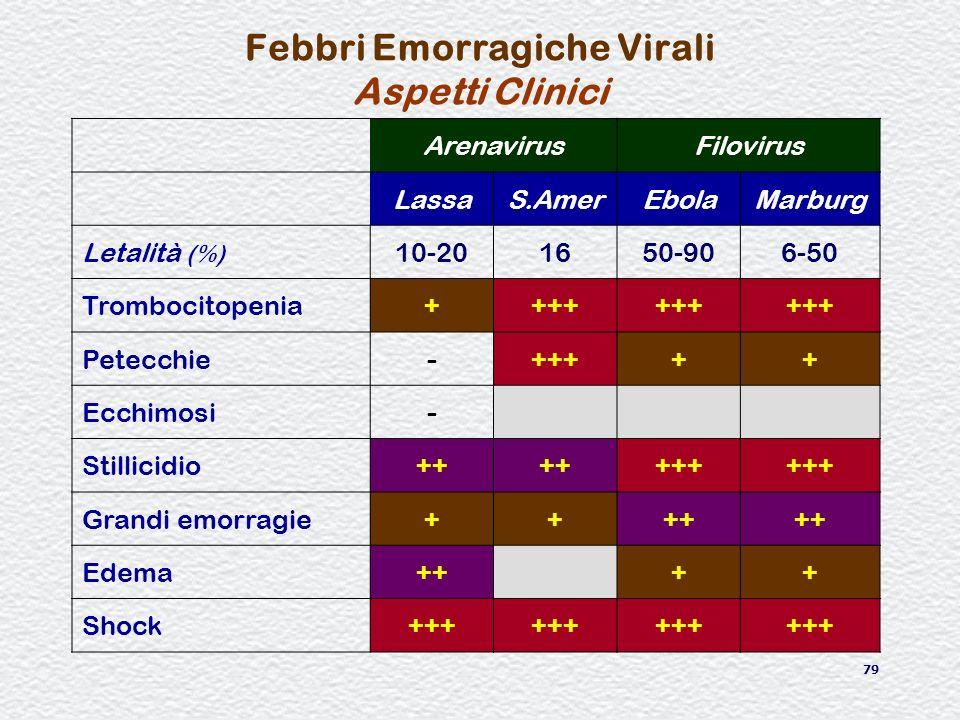 79 Febbri Emorragiche Virali Aspetti Clinici ArenavirusFilovirus LassaS.AmerEbolaMarburg Letalità (%) 10-201650-906-50 Trombocitopenia++++ Petecchie-+