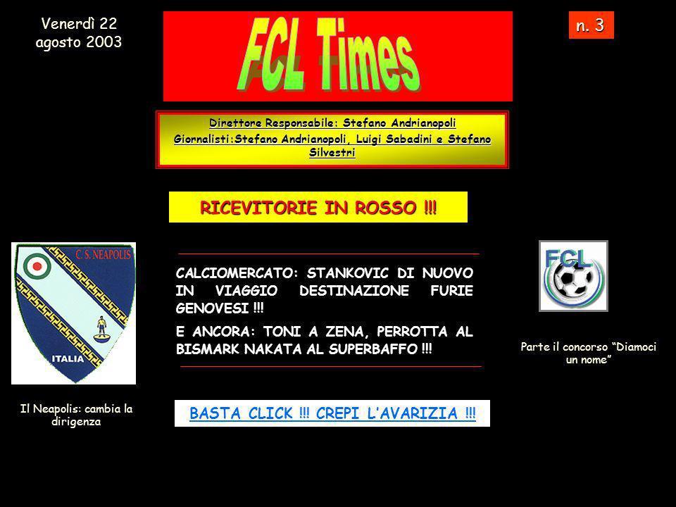 Direttore Responsabile: Stefano Andrianopoli Giornalisti:Stefano Andrianopoli, Luigi Sabadini e Stefano Silvestri n.