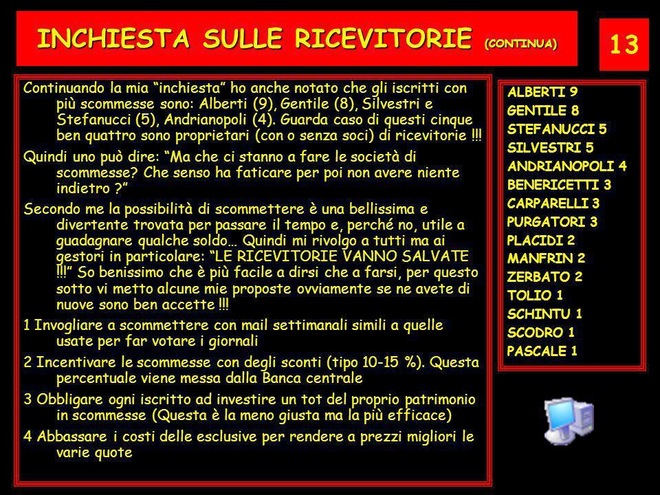 13 INCHIESTA SULLE RICEVITORIE (CONTINUA) Continuando la mia inchiesta ho anche notato che gli iscritti con più scommesse sono: Alberti (9), Gentile (8), Silvestri e Stefanucci (5), Andrianopoli (4).