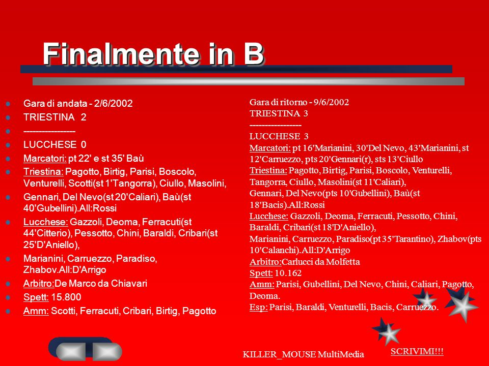 SCRIVIMI!!! KILLER_MOUSE MultiMedia Finalmente in B Gara di andata - 2/6/2002 TRIESTINA 2 ----------------- LUCCHESE 0 Marcatori: pt 22' e st 35' Baù