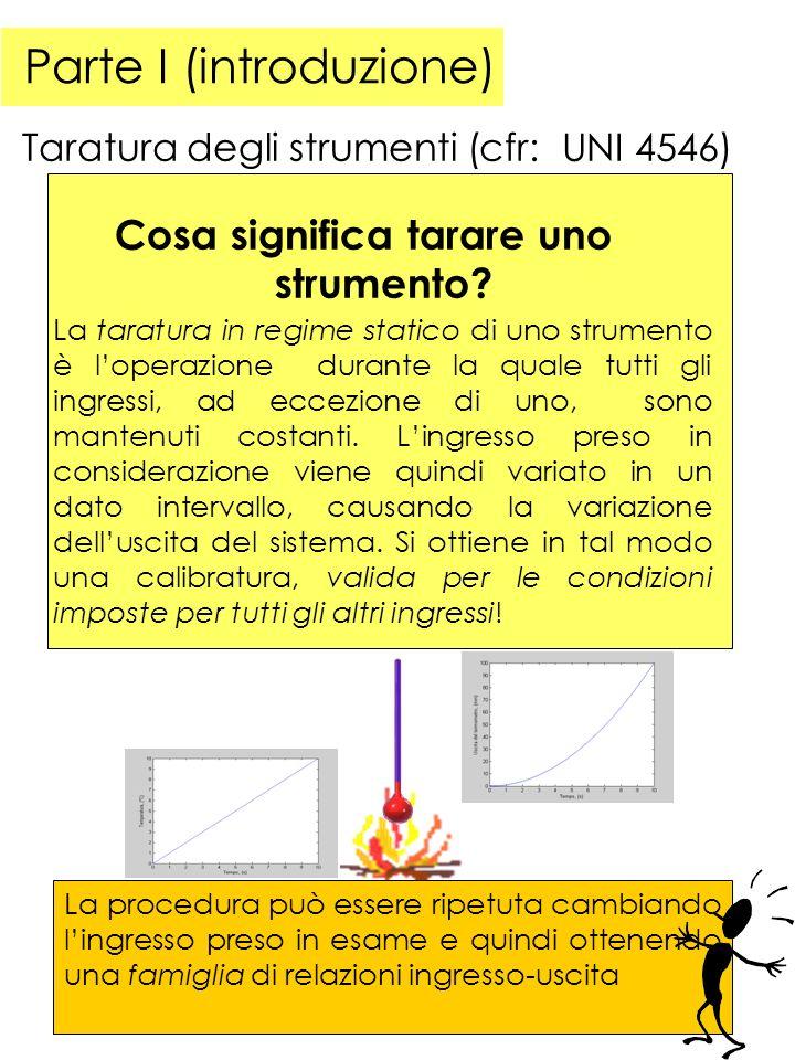 Parte I (introduzione) Taratura degli strumenti (cfr: UNI 4546) La taratura in regime statico di uno strumento è loperazione durante la quale tutti gli ingressi, ad eccezione di uno, sono mantenuti costanti.