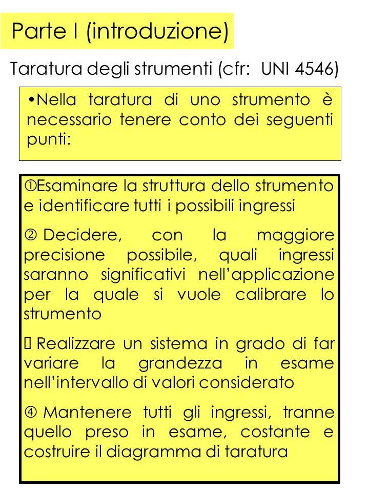 Parte I (introduzione) Taratura degli strumenti (cfr: UNI 4546) Poiché gli altri ingressi devono essere mantenuti costanti, è necessario procedere alla loro misura.