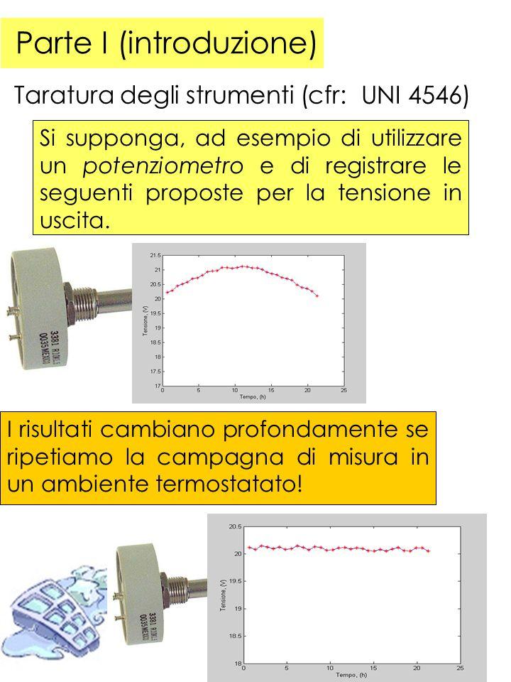 Parte I (introduzione) Taratura degli strumenti (cfr: UNI 4546) Si supponga, ad esempio di utilizzare un potenziometro e di registrare le seguenti proposte per la tensione in uscita.