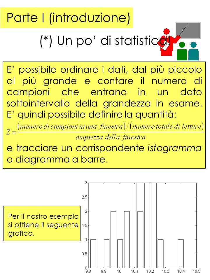 Parte I (introduzione) (*) Un po di statistica.
