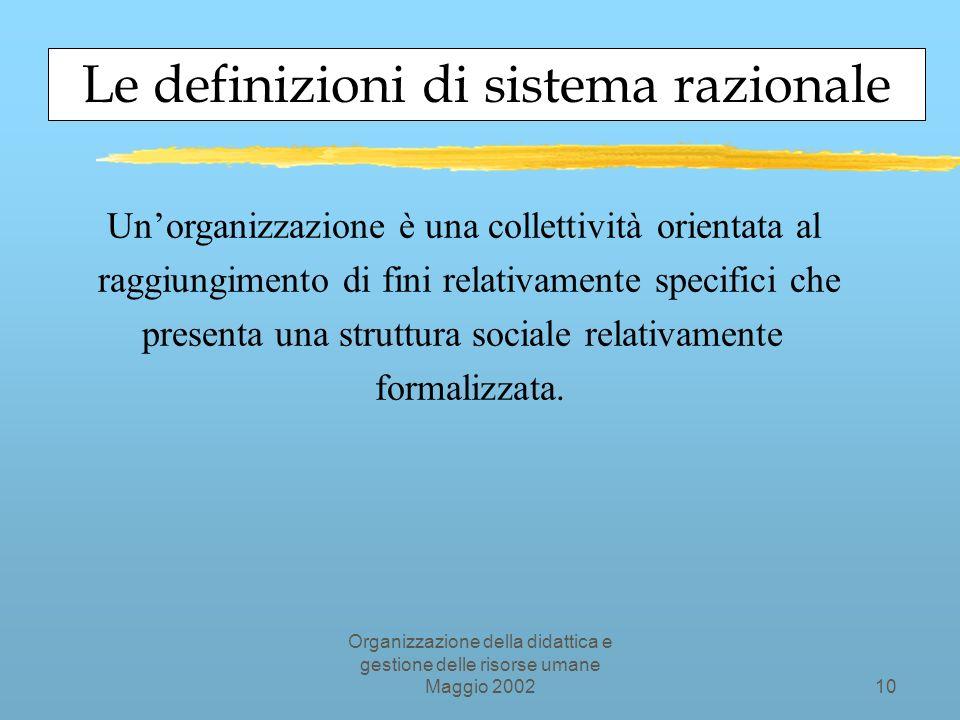 Organizzazione della didattica e gestione delle risorse umane Maggio 20029 GLI ELEMENTI DI UNORGANIZZAZIONE LA LA STRUTTURA STRUTTURA LATECNOLOGIA IPARTECIPANTI GLI GLI SCOPI SCOPI