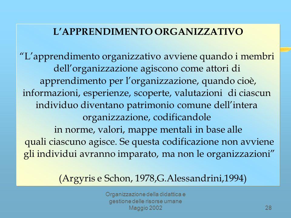 Organizzazione della didattica e gestione delle risorse umane Maggio 200227