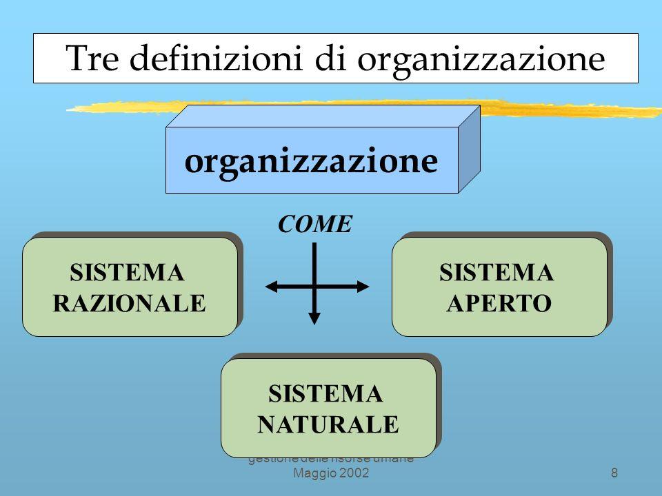 Organizzazione della didattica e gestione delle risorse umane Maggio 20028 Tre definizioni di organizzazione SISTEMA RAZIONALE SISTEMA RAZIONALE SISTEMA NATURALE SISTEMA NATURALE SISTEMA APERTO SISTEMA APERTO organizzazione COME
