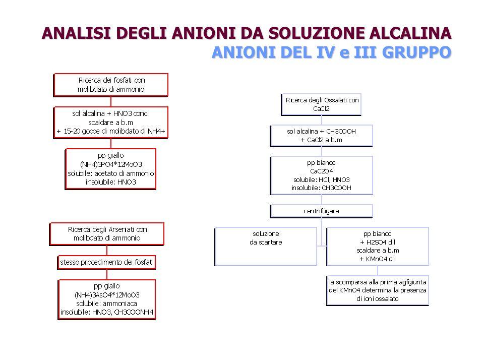ANALISI DEGLI ANIONI DA SOLUZIONE ALCALINA ANIONI DEL IV e III GRUPPO