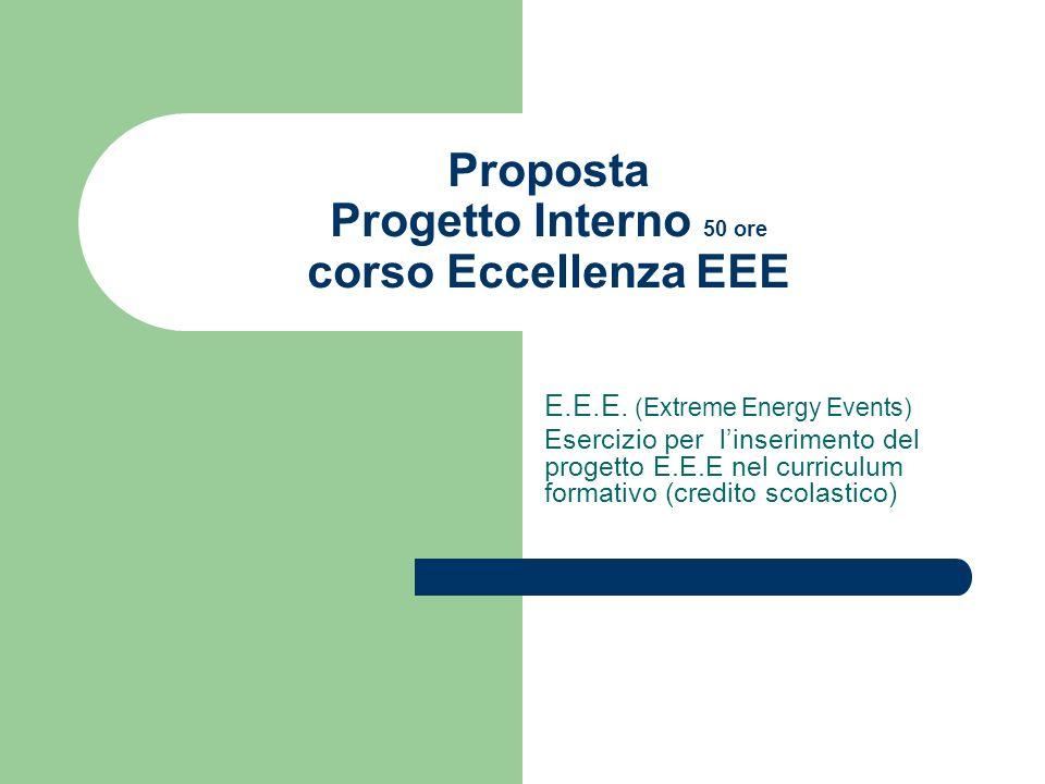 Proposta Progetto Interno 50 ore corso Eccellenza EEE E.E.E. (Extreme Energy Events) Esercizio per linserimento del progetto E.E.E nel curriculum form