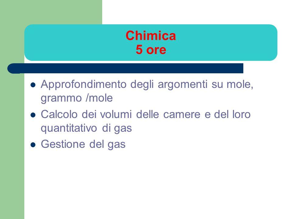 Chimica 5 ore Approfondimento degli argomenti su mole, grammo /mole Calcolo dei volumi delle camere e del loro quantitativo di gas Gestione del gas