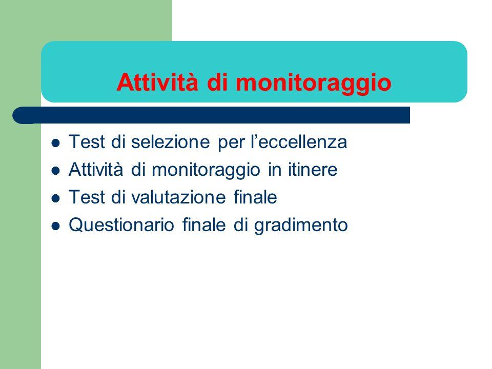 Attività di monitoraggio Test di selezione per leccellenza Attività di monitoraggio in itinere Test di valutazione finale Questionario finale di gradi