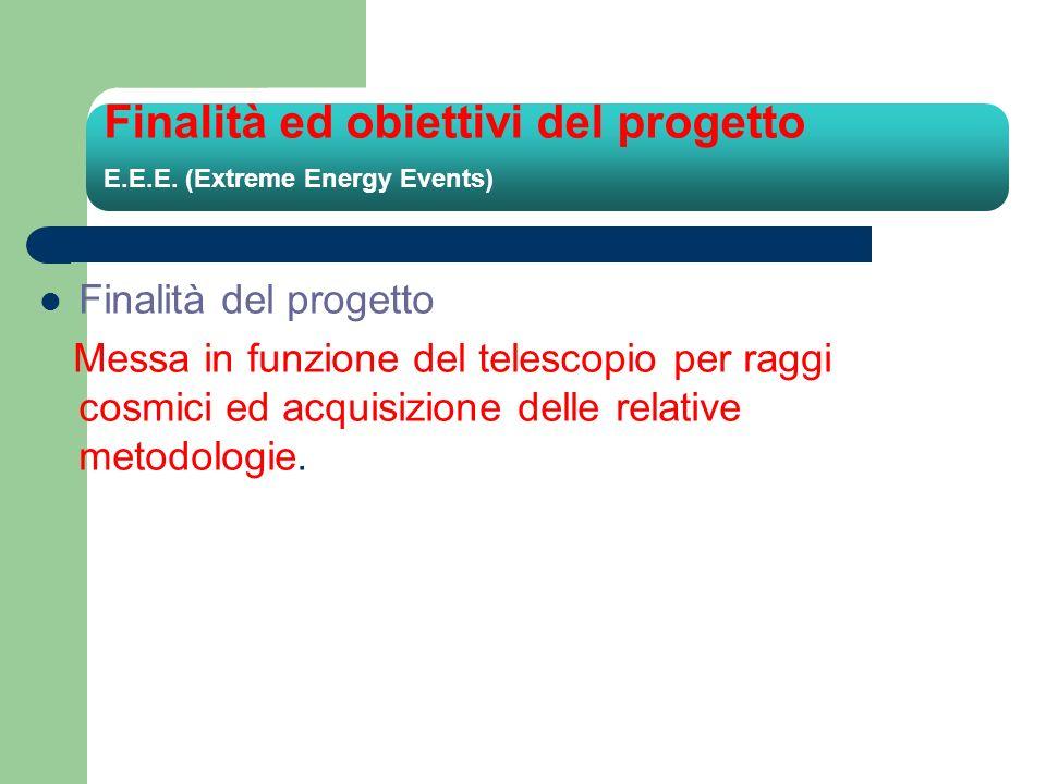 Finalità ed obiettivi del progetto E.E.E. (Extreme Energy Events) Finalità del progetto Messa in funzione del telescopio per raggi cosmici ed acquisiz