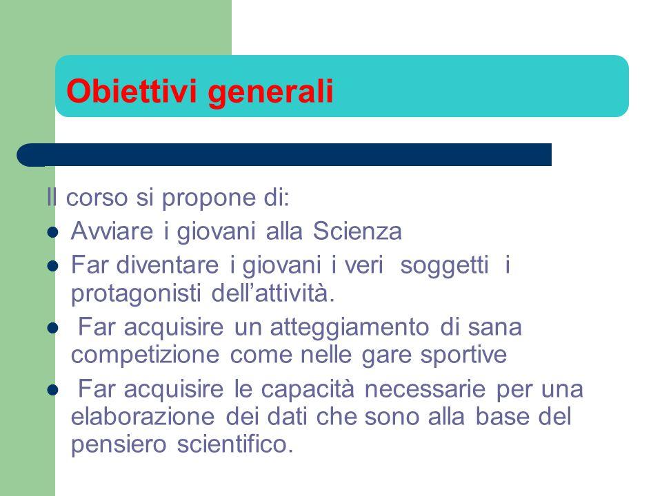 Obiettivi generali Il corso si propone di: Avviare i giovani alla Scienza Far diventare i giovani i veri soggetti i protagonisti dellattività. Far acq