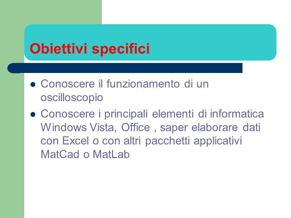 Obiettivi specifici Conoscere il funzionamento di un oscilloscopio Conoscere i principali elementi di informatica Windows Vista, Office, saper elabora