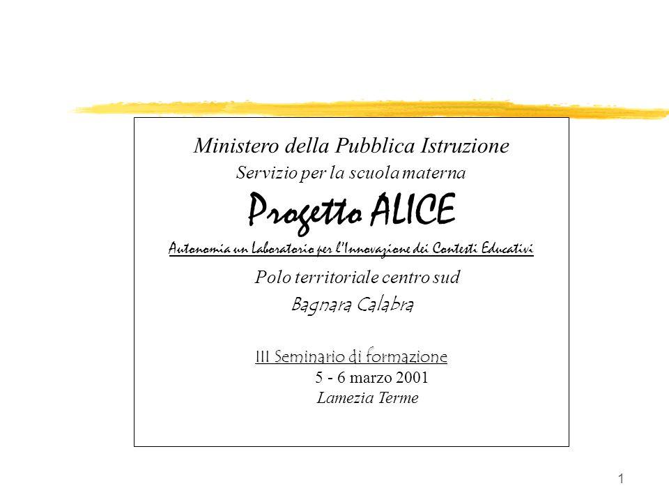 11 Il III Seminario zSocializzazione ipotesi zRivisitazione modelli di formazione zIndicazioni di prospettiva Antonino Giunta: ALICE - Lamezia