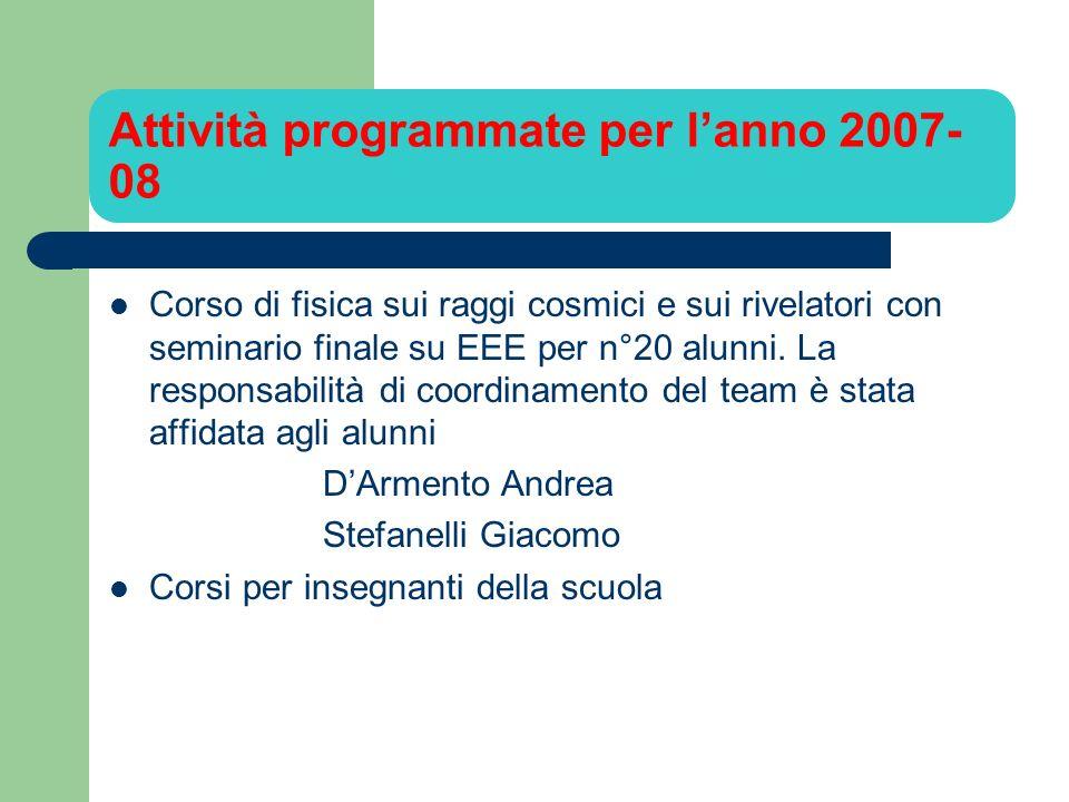 Attività programmate per lanno 2007- 08 Corso di fisica sui raggi cosmici e sui rivelatori con seminario finale su EEE per n°20 alunni.