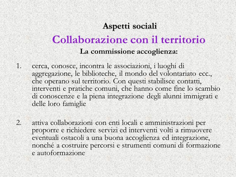 Aspetti sociali Aspetti sociali Collaborazione con il territorio La commissione accoglienza: 1.cerca, conosce, incontra le associazioni, i luoghi di a